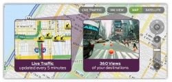 Mapquest controls feature live traffic and destination images.