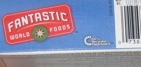 This cardboard box is another example of a product that is sold in a recycled container. Recycled paper was used to make the box and it can be recycled again.