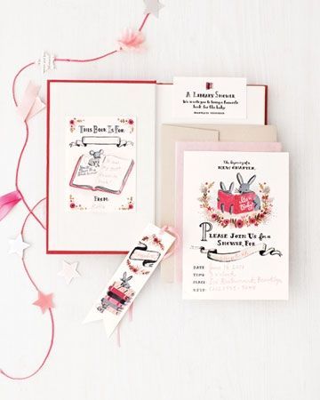 Invite guests to celebrate the expectant mom and her passion for literature with our hand-painted invitation and bookmark clip art. See link below. Source:  Marthastewart.com: Entertaining Clip Art and Templates