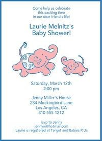 Whimsical elephants on DIY baby shower invitation.  Source:  http://invitationland.com/baby-invitations.html