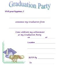 DIY graduation invitation card. Source:  http://www.graduation-invitations-graduation-party.com/free-printable-graduation-invitations.html