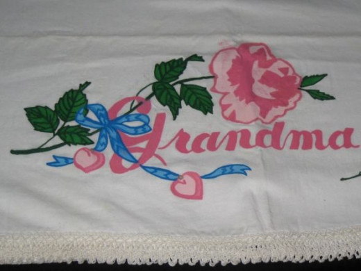 """Grandma"" painted embroidery pillowcase."