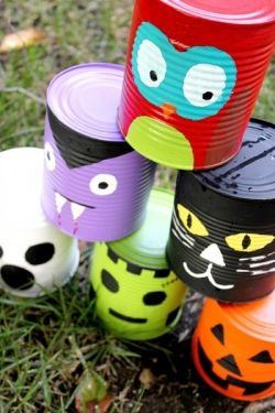Tin Can Bowling Game for Halloween.