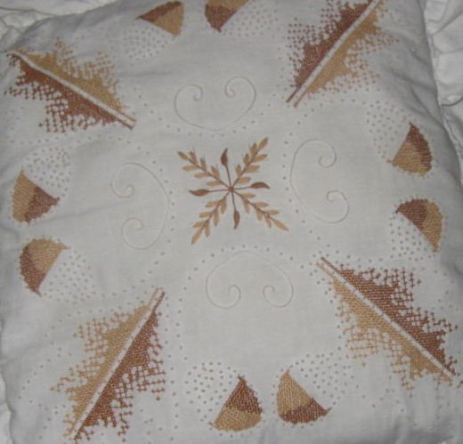 Embroidered pillow top for Zentangle inspiration.