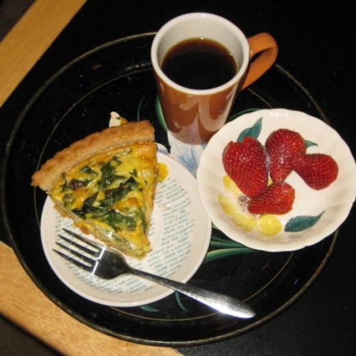 Vegetarian quiche is delicious for breakfast.