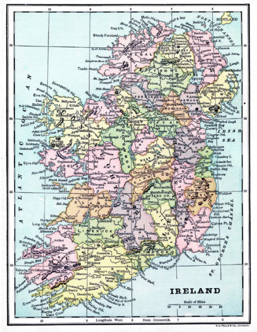Vintage map of Ireland. Courtesy of The Graphics Fairy. See link below to download and print this vintage map.