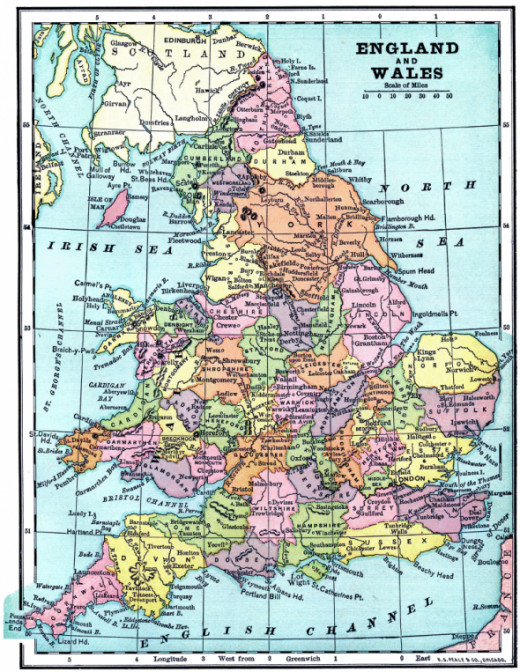 Vintage map of England and Wales. Courtesy of The Graphics Fairy. Link below to download and print this map.