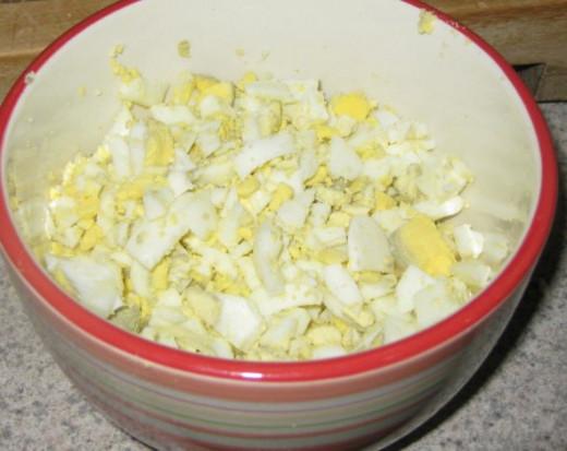 Chopped eggs for egg salad.