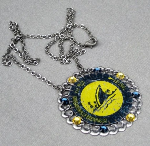 Recycled beer bottle cap necklace by Etsy seller SassyBelleWares. See the link below to visit her Etsy shop.