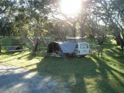 Our camp at Bimbi - watch out for Koala droppings
