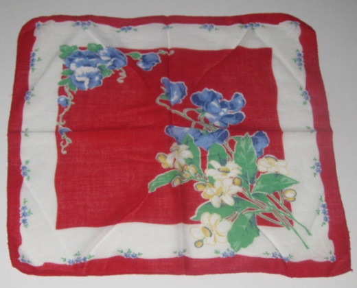 Red and white handkerchief with blue flowers, green leaves.