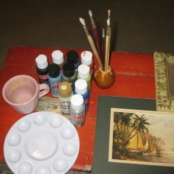 Craft supplies for monster painting.