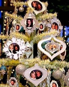 Picture frame ornaments courtesy of Martha Stewart.