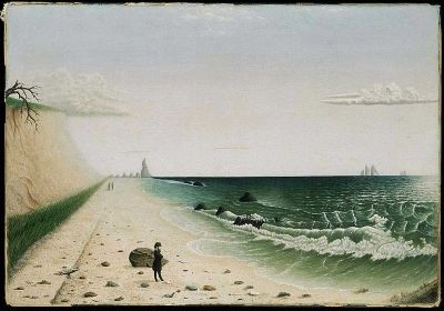 Meditation By the Sea, Folk Art Painting from Early 1860s, Artist Unknown