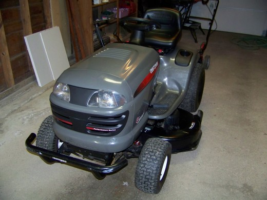 The first thing  I do in Spring is to thoroughly wash my lawn tractor using car wash soap.