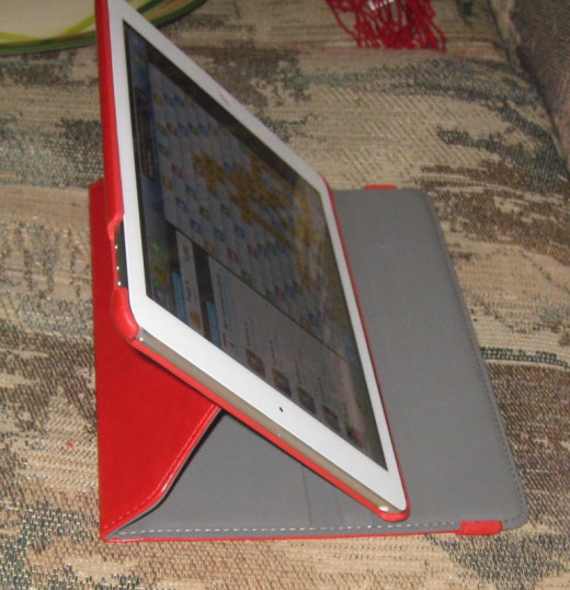 """Two """"trays"""" let you angle the iPad to be more upright or a little more laid back, dude."""