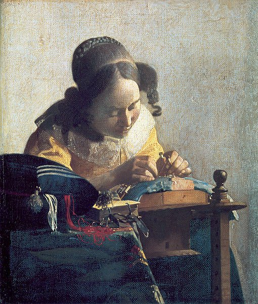 The Lacemaker by Vermeer. Circa 1669-1671.Photo Credit:  Muse du Louvre (at Wikimedia Commons, in the public domain)