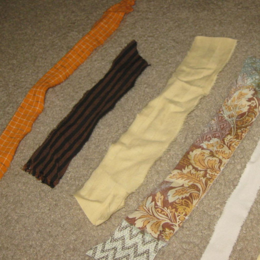 Fabric strips for rag wreath.