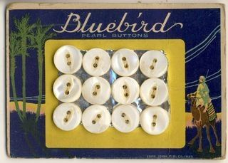 Bluebird buttons and card. Courtesy of Gathering Dust.