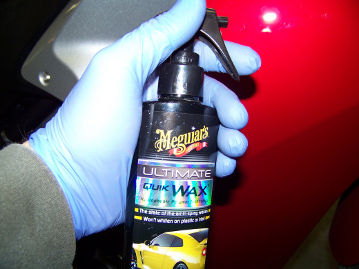 I use Meguiar's Ultimate Quik Wax with a clean chamois on the painted and plastic surfaces.