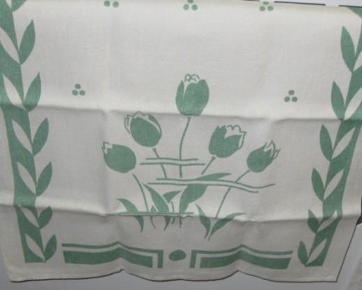 Printed tulips on cotton tea towel.