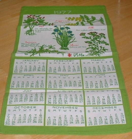 1977 vintage tea towel calendar signed Vera.