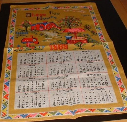 1969 vintage tea towel calendar