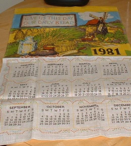 1981 vintage tea towel calendar