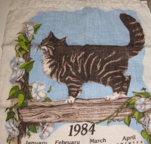 1984 vintage calendar towel