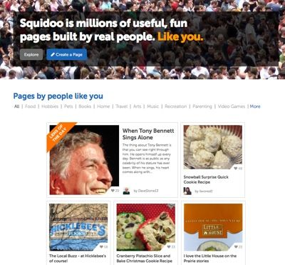 The current Squidoo homepage.