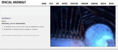 Screencapture of the Spacial Anomaly home page.