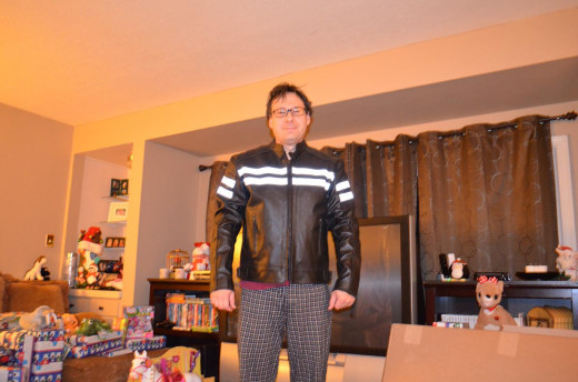 Me proudly wearing my new Motorcycle Jacket.