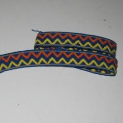 Heavy woven trim in lovely primary colors.