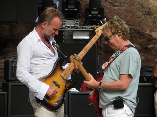Andy Summers and Sting at a Police soundcheck