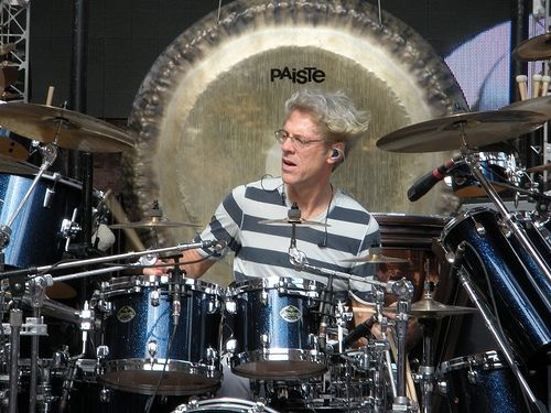 Stewart Copeland on stage during a Denver soundcheck, 2008.