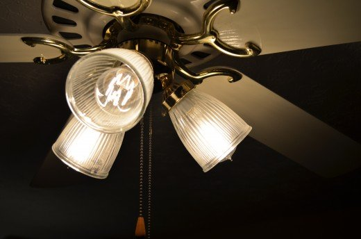 A picture of the new retro Edison style bulbs installed in our Casablanca style ceiling fan.