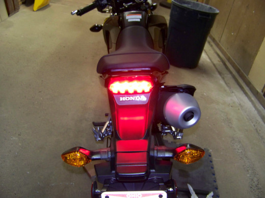 Rear brake light illuminated.