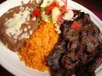 Carne Asada with rice and beans