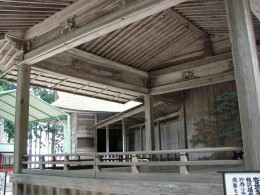The old Noh theatre stage in the world heritage Chusonji temple complex in Hiraizumi.
