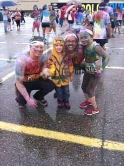 My daughter, BIL, and I after a rainy Color Run in Cleveland in 2013.
