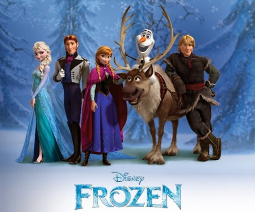 The characters of Frozen. L to R: Queen Elsa, Prince Hans, Princess Anna, Olaf the snowman, Sven the Reindeer, and Kristoff