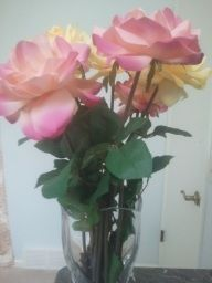 silk rose bouquet in crystal vase