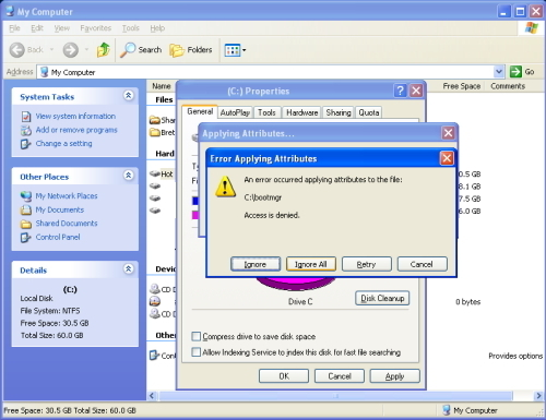 Click on the Ignore All button to any Error message windows.