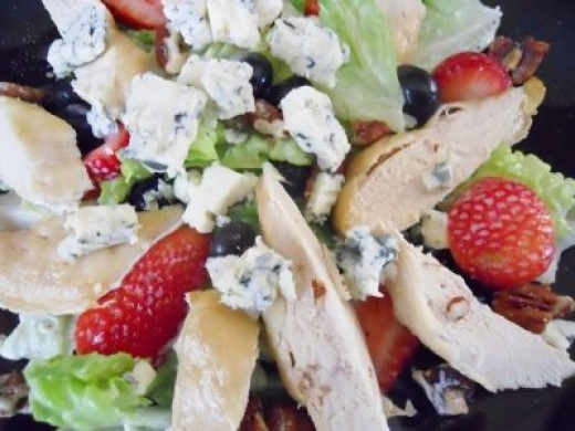 Strawberry Blueberry Chicken Salad - Bright Colorful Summer Salad