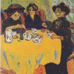 "Painting Entitled ""De Kaffetafel"" (The Coffee Table) by Ernest Ludwig Kirchner (1880-1938)"