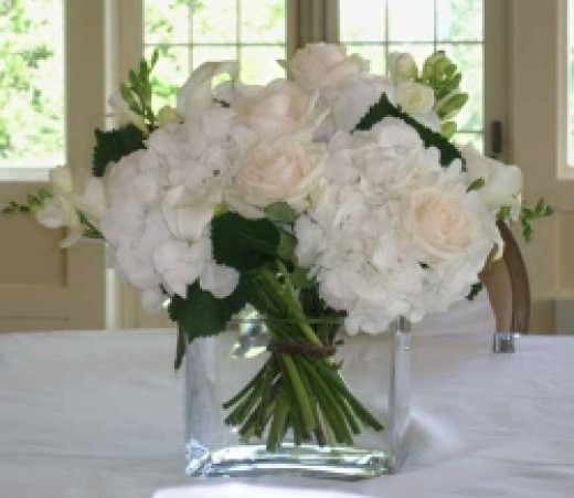 Hand-tied white floral centerpiece