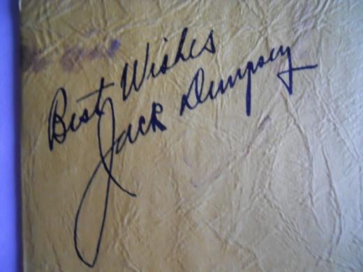 Jack Dempsey's autograph on Supper Club menu