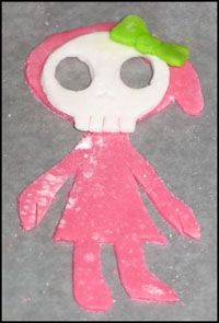 Edible skull girl decoration setting up for later use