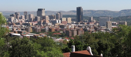 A photograph of the central business district (CBD) of Pretoria.