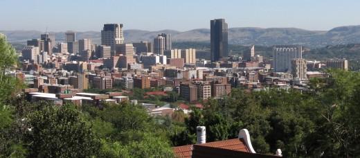 A photograph of the central business district (CBD) of Pretoria.